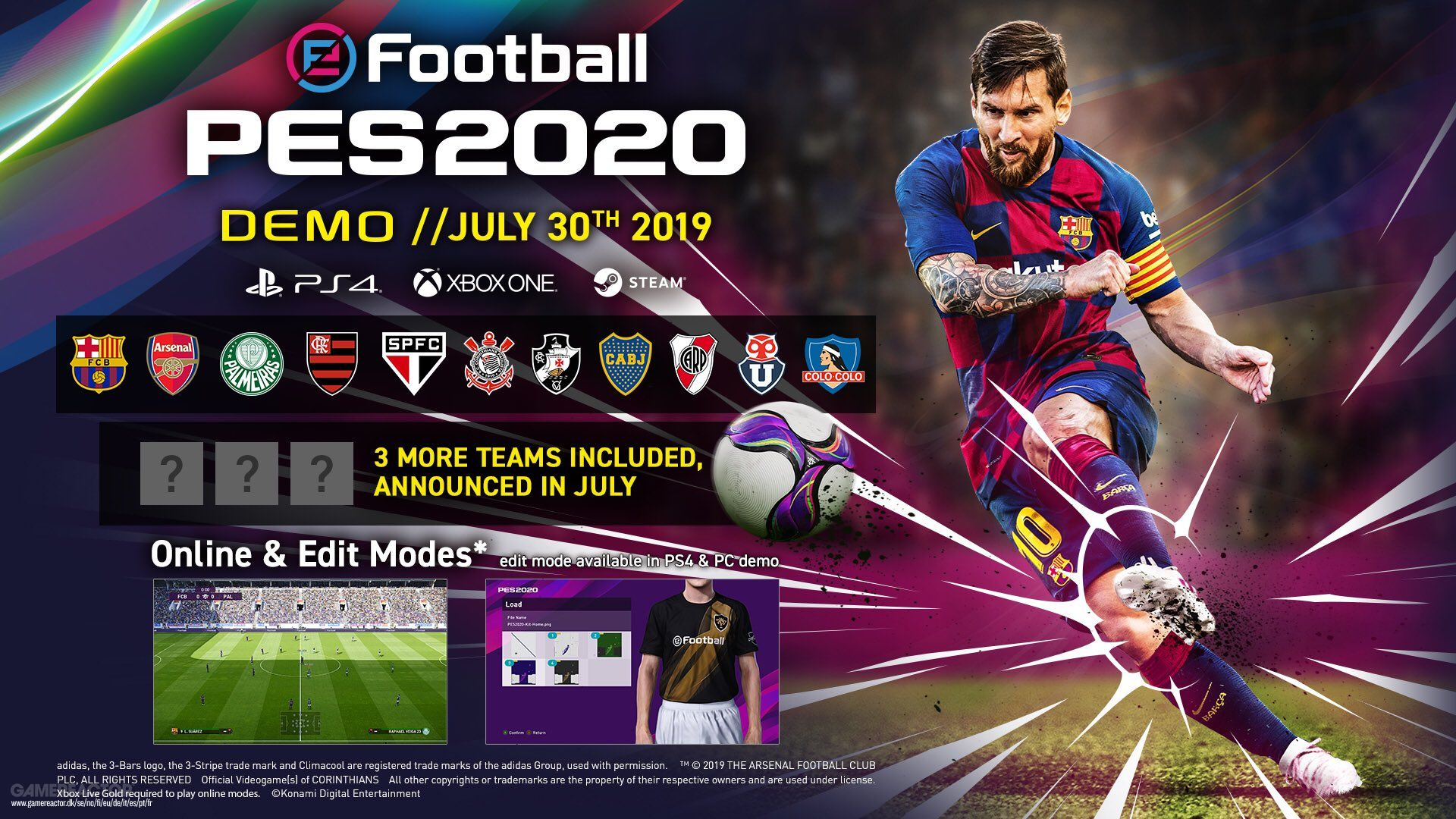 eFootball PES 2020 Demo includes Edit Mode and 14 real teams