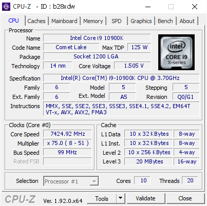Intel Core i9 10900K already at 7.4 Ghz overclock