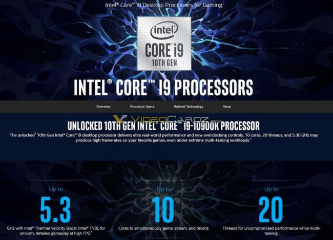 Marketing material leaks final Intel 10th gen specs