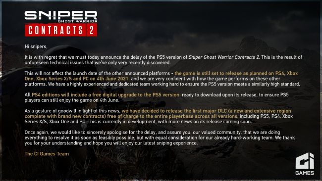 The PS5 version of Sniper Ghost Warrior Contracts 2 is delayed