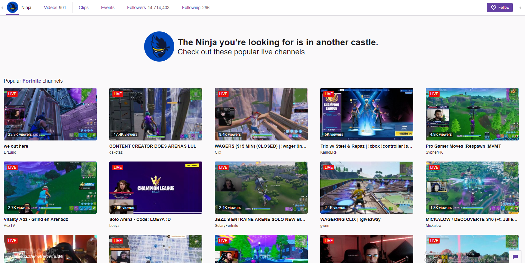 Twitch replaces Ninja's stream banner with a message