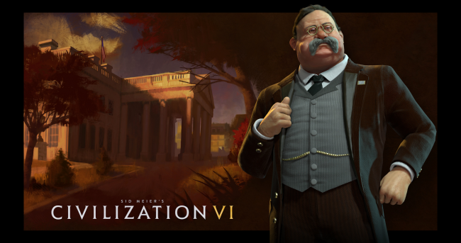 Theodore Roosevelt leads the Americans in Civilization VI