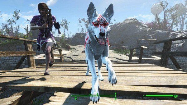 Mod dresses Dogmeat up as Okami in Fallout 4