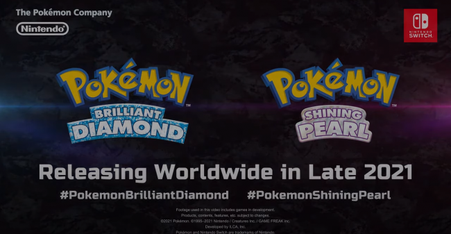 Pokémon Brilliant Diamond and Shining Pearl are coming to the Switch in 2021