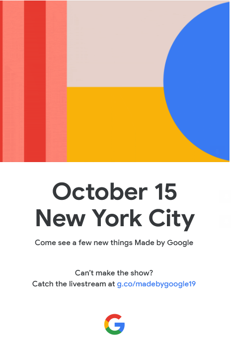 Google Pixel 4 to launch the 15th of October