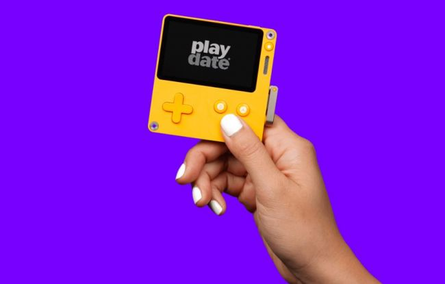 The Playdate is a handheld console with a crank