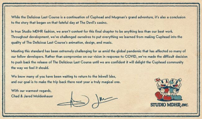 Cuphead: The Delicious Last Course has been delayed again