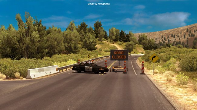 American Truck Simulator closes road after landslide