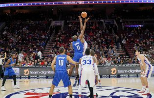 Team Dignitas logo appears at NBA 76ers match
