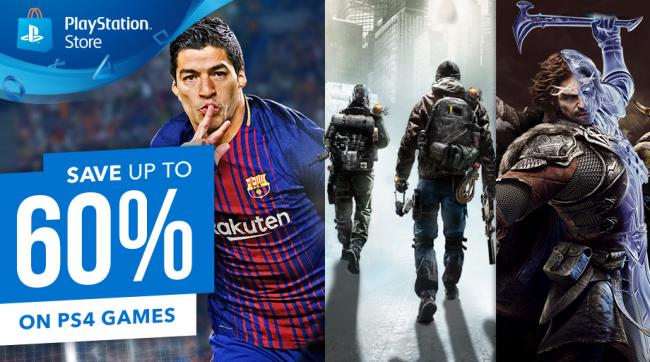 Save up to 60% on selected PS4 games on the PS Store