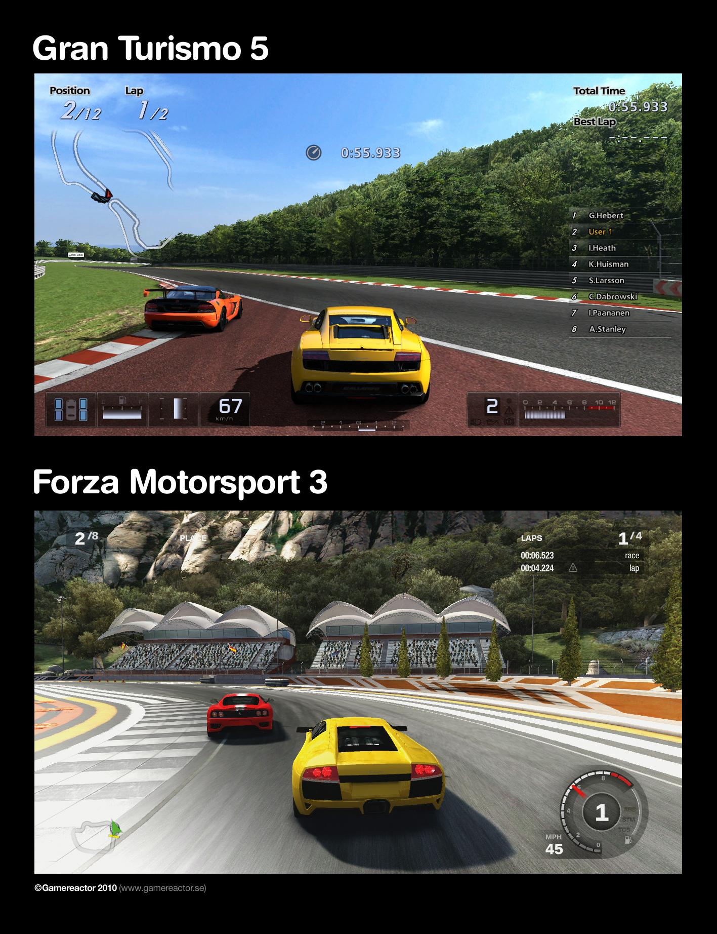 Gran Turismo 5 Vs Forza 3 Enlarge Picture