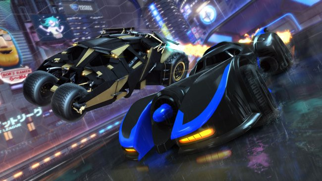 Two versions of the Batmobile heading to Rocket League