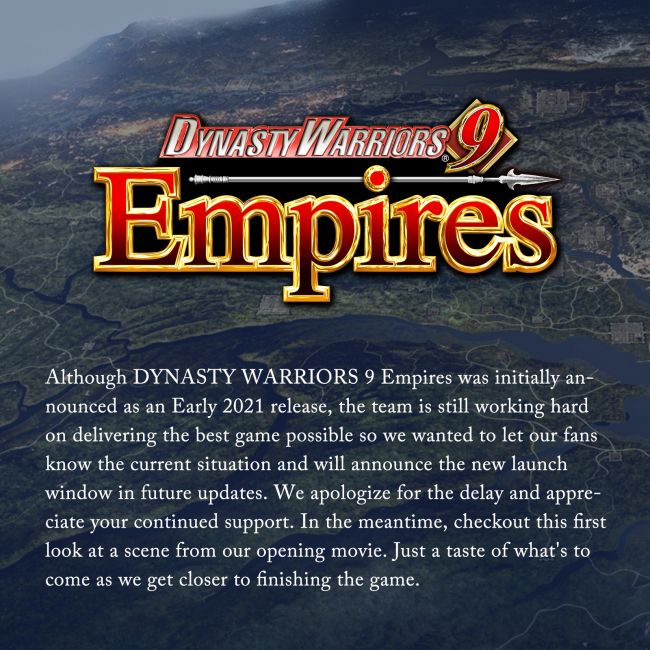 Dynasty Warriors 9 Empires delayed, new release date to be announced