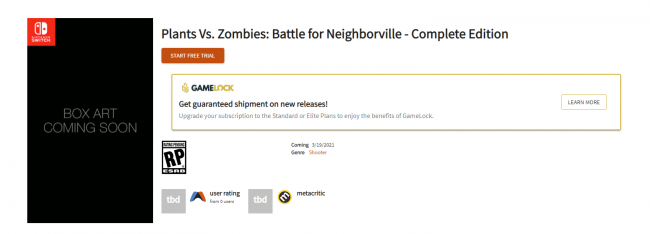 Rumour: Plants Vs. Zombies: Battle for Neighborville could launch on Switch on March 19, 2021