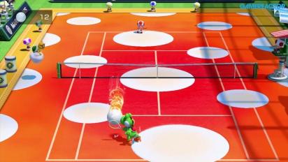 Mario Tennis: Ultra Smash - Mega Ball Rally Gameplay - Yoshi vs Toad