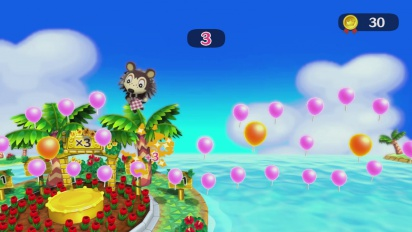 Animal Crossing: Amiibo Festival - Balloon Island Minigame Gameplay